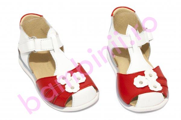 Sandale fete 574 alb rosu flori 18-25