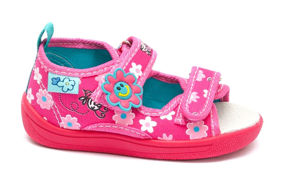 Sandale fete flexibila cu brant din piele 1109 fuxia 20-25