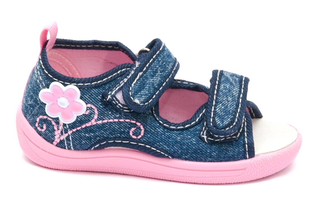 Sandale fete flexibila cu brant din piele 1109 jeans roz 20-25