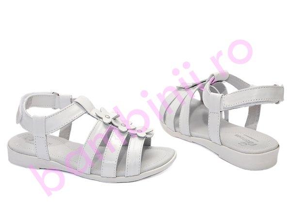 Sandale fete din piele Pj Shoes Gladiator alb