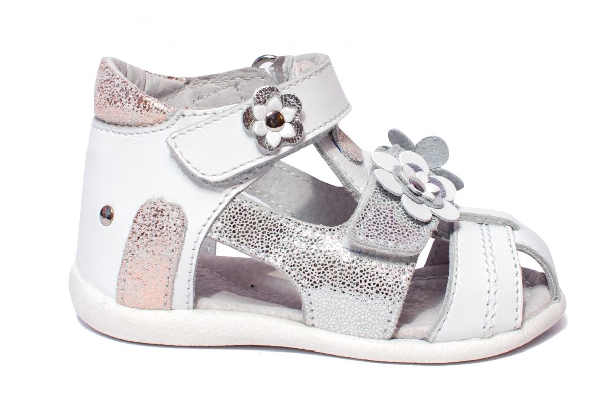 Sandale fete hokide picior lat 405 alb argintiu 18-25