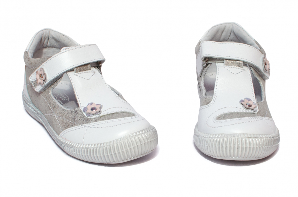 Sandale fete hokide piele 208 alb arg 18-32