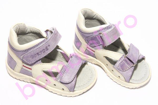 Sandale fete hokide piele 276 mov alb 19-25