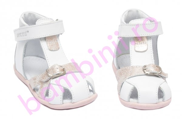 Sandale fete inalte pe glezna hokide 231 alb roz sidef 18-24