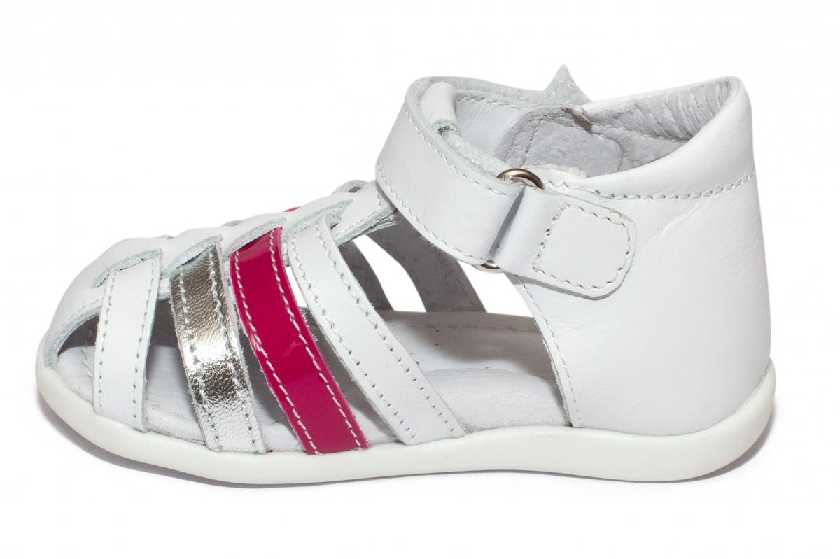 Sandale fete inalte pe glezna hokide 406 alb arg fuxia 18-24