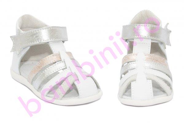 Sandale fete inalte pe glezna hokide 406 alb arg roz 18-24