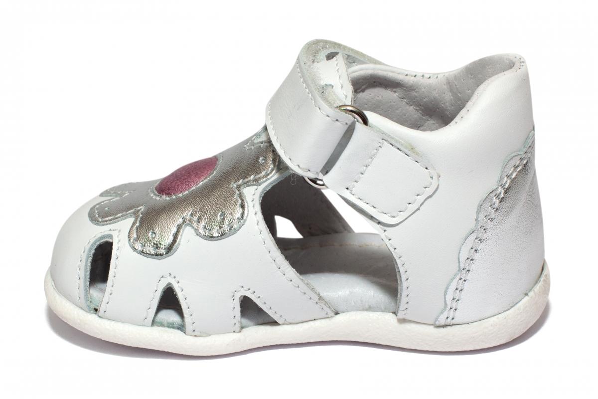 Sandale fete inalte pe glezna hokide 436 alb arg mov 18-24