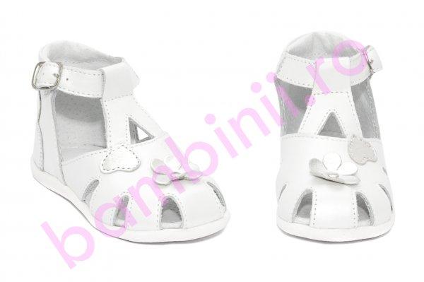 Sandale fete inalte pe glezna hokide 77 alb argintiu 18-24