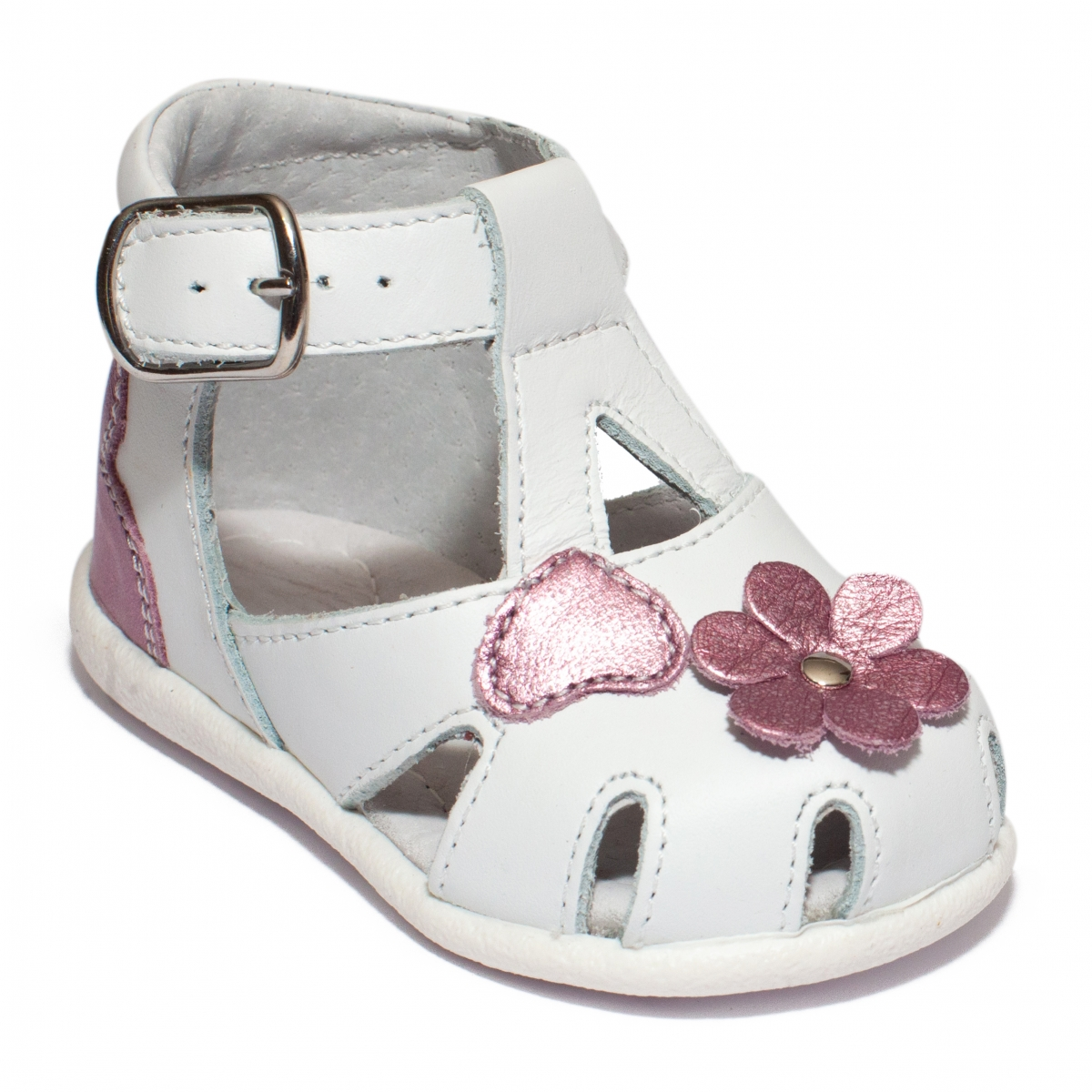 Sandale fete inalte pe glezna hokide 77 alb mov sidef 18-24