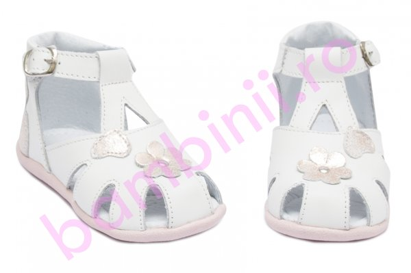 Sandale fete inalte pe glezna hokide 77 alb roz sidef 18-24