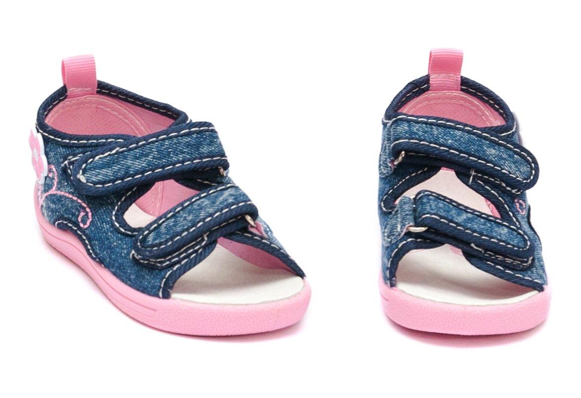 Sandale fete moi si flexibile brant din piele 1109 jeans fuxia 20-25