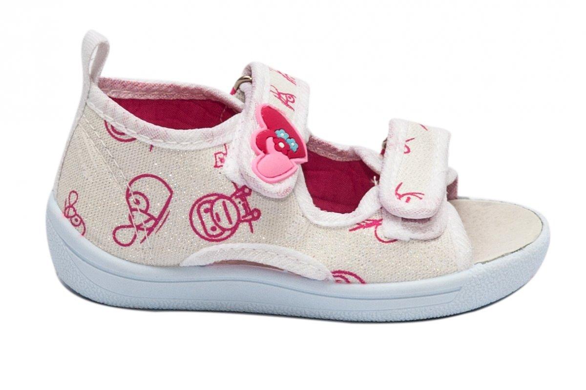 Sandale fete moi si flexibile brant din piele 1230 alb roz 20-25