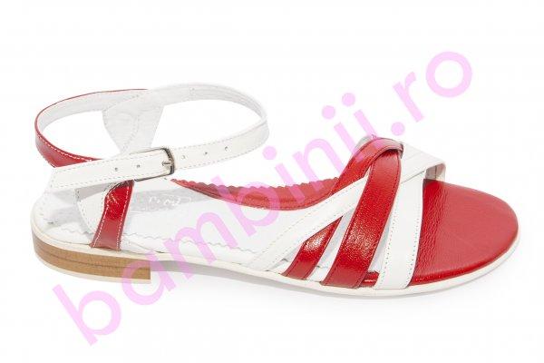 Sandale fete piele 121.8 alb rosu 34-41