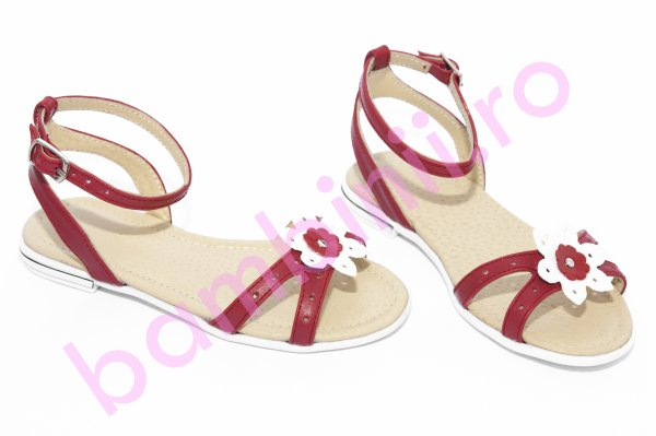 Sandale fete piele 1321 rosu alb 26-36
