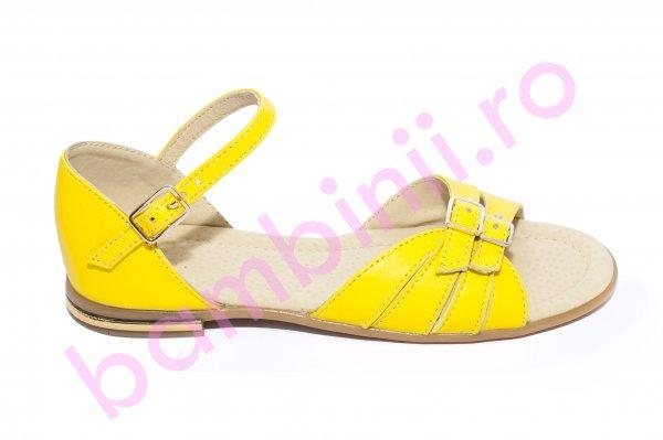 Sandale fete piele la comanda 1377 galben 26-36