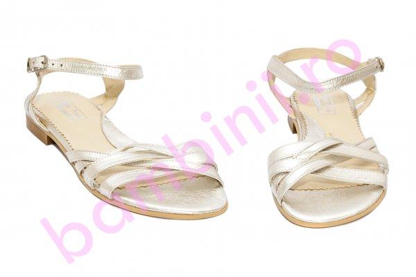 Sandale fete piele naturala 121.8 auriu 34-41