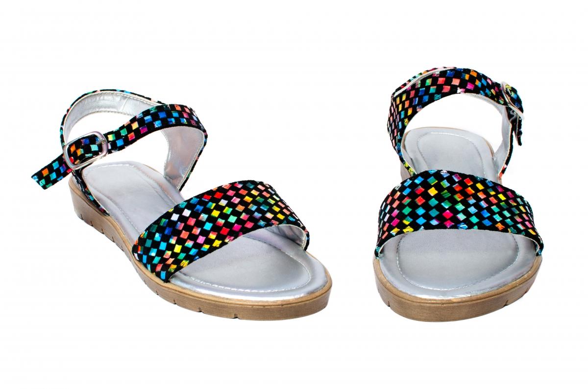 Sandale fete piele naturala 222 negru sah 36-41