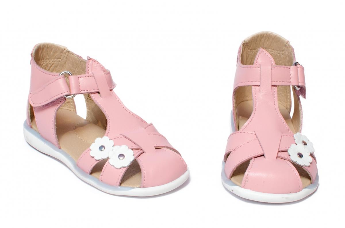 Sandale fete piele naturala 346 roz flori 18-25