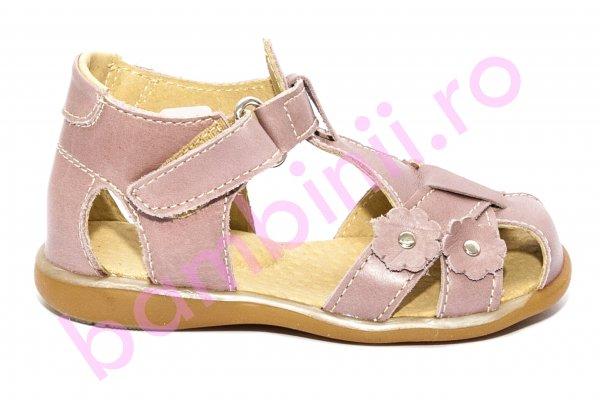 Sandale fete piele naturala 346 roz sidef flori18-25