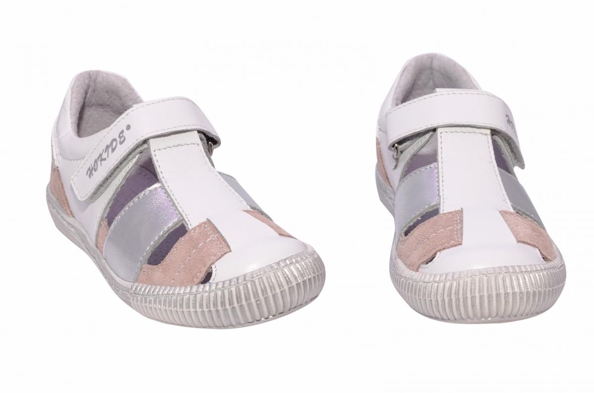 Sandale fete piele naturala hokide 422 alb roz 26-30