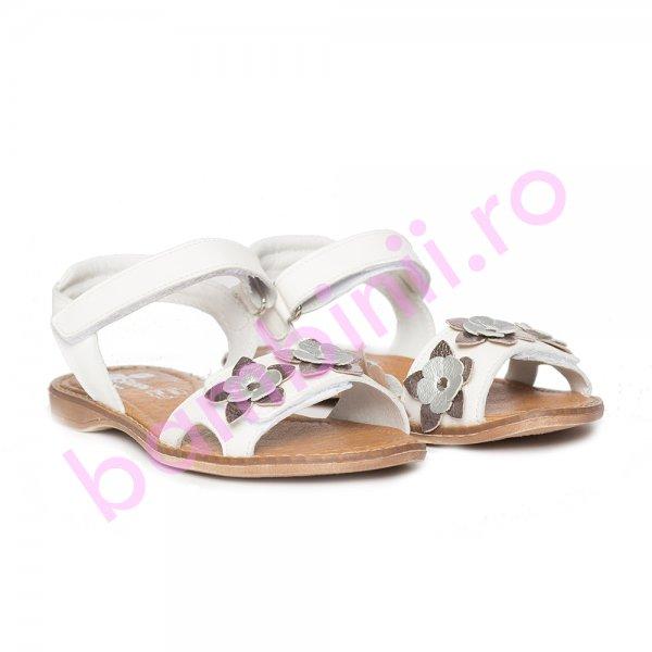 Sandale fete piele pj shoes Ana alb 26-36