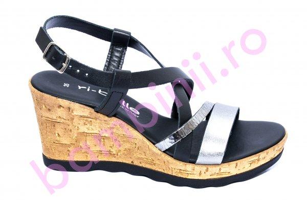 Sandale platforma dama piele 990 negru argintiu 35-41