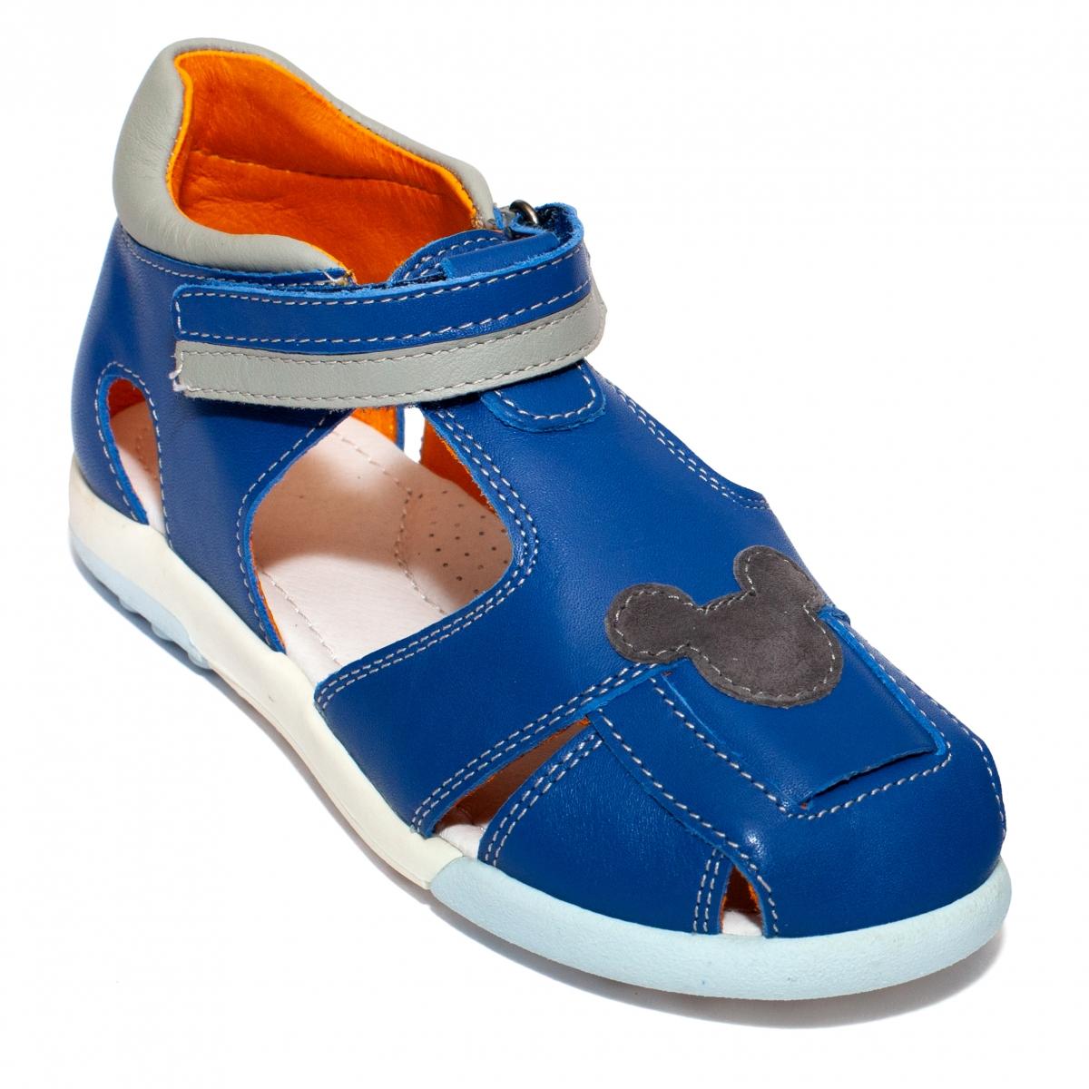 Sandalute baieti avus din piele AV22 albastru gri miky 20-30
