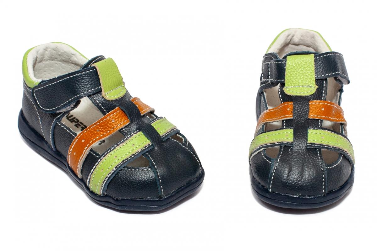 Sandalute baieti flexibile 1597 blu verde 19-24