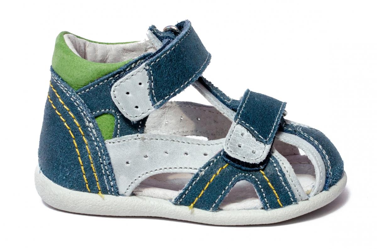 Sandalute baieti inalte pe glezna hokide 311 blu gri verde 18-25