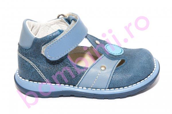 Sandalute baieti piele 1323 blu gri 18-25
