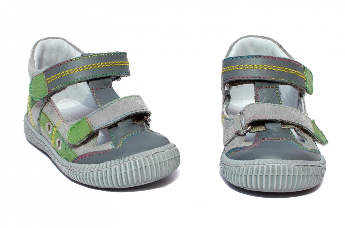 Sandalute copii flexibile hokide 386 gri verde 18-25