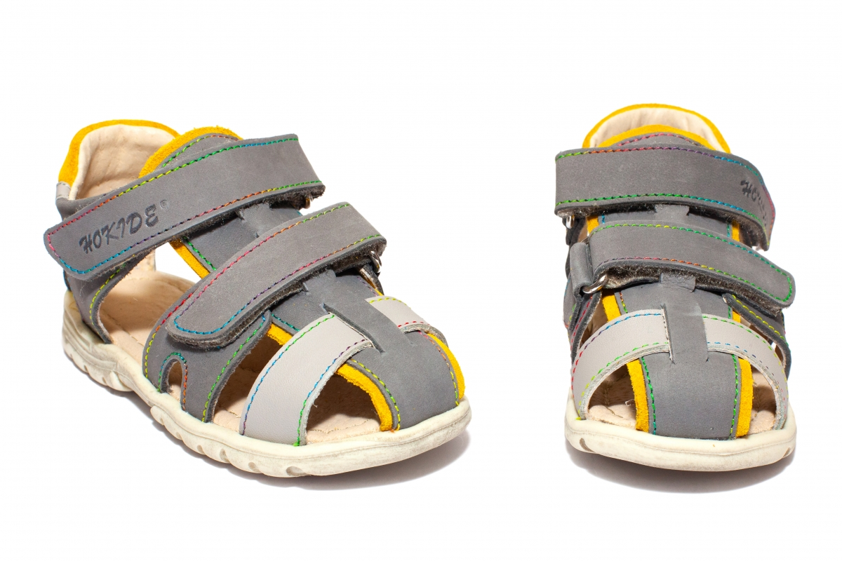 Sandalute copii hokide picior lat 357 gri galben gri 22-27