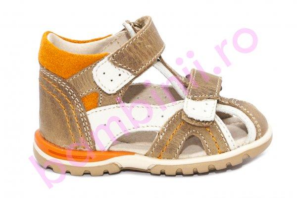 Sandalute copii hokide picior lat din piele naturala 311 bej maro port 18-25