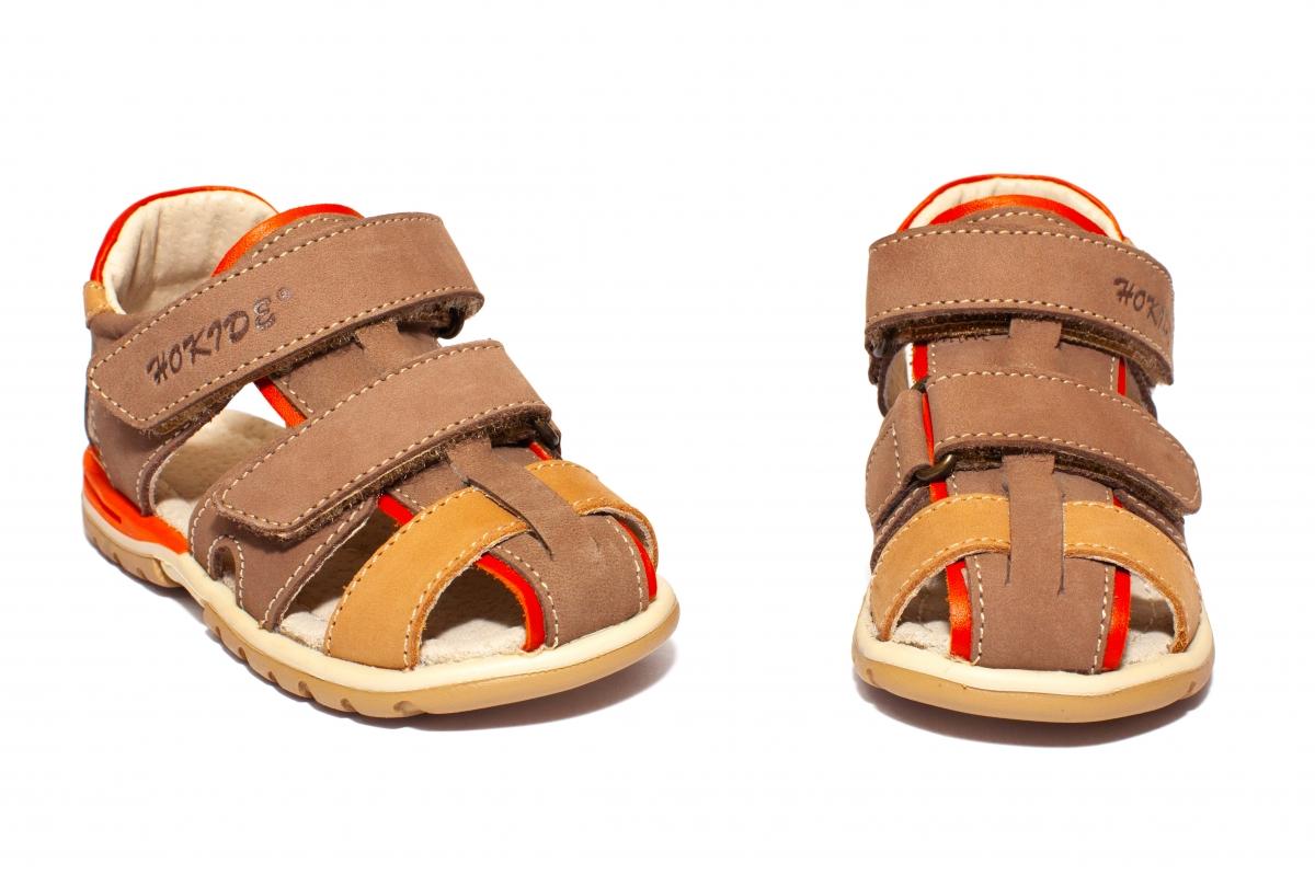 Sandalute copii picior lat hokide 357 maro port bej 22-32