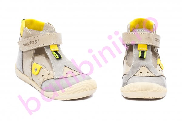 Sandalute copii piele hokide 305 gri galben 18-25