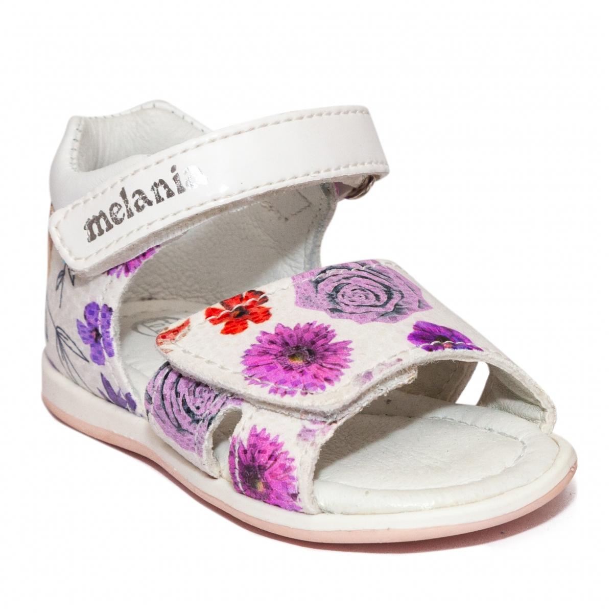 Sandalute fete Melania 8145 alb flori 19-25