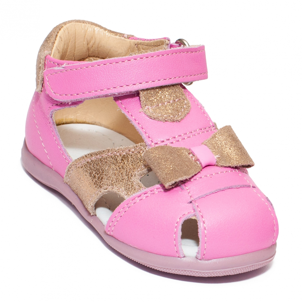 Sandalute fete avus piele 802 alb mov 18-26