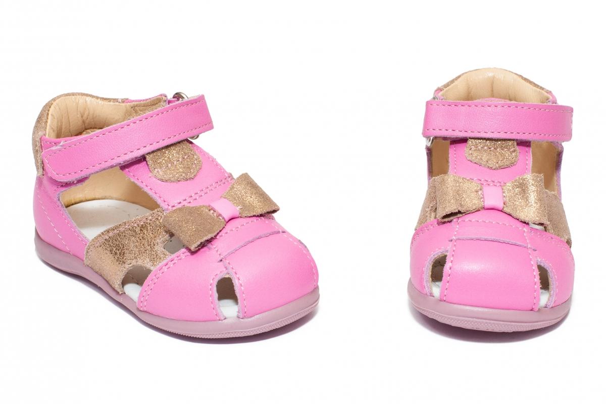 Sandalute fete avus piele 802 roz auriu 18-26