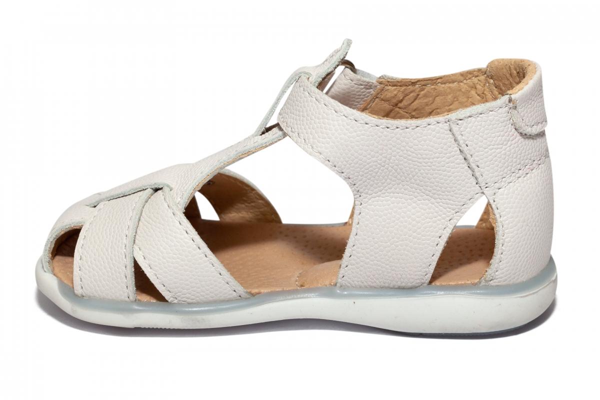 Sandalute fete din piele 346 alb unt 18-25