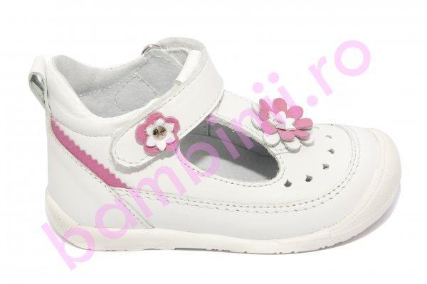 Sandalute fete hokide 385 alb roz 18-24