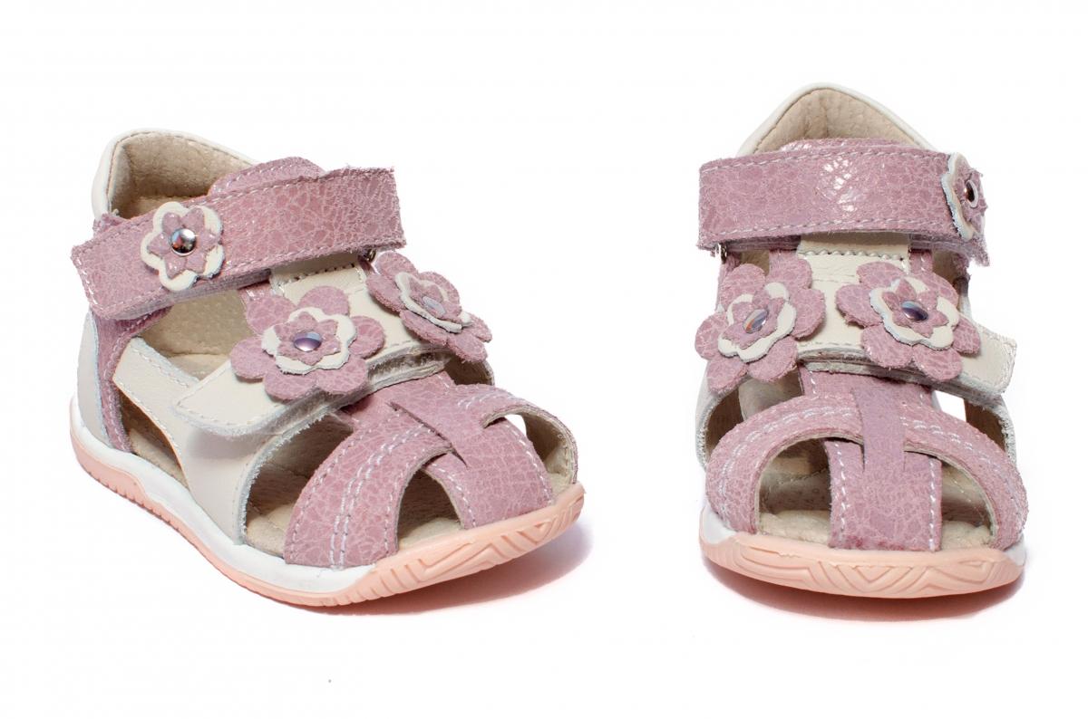 Sandalute fete hokide 405 roz alb 18-25