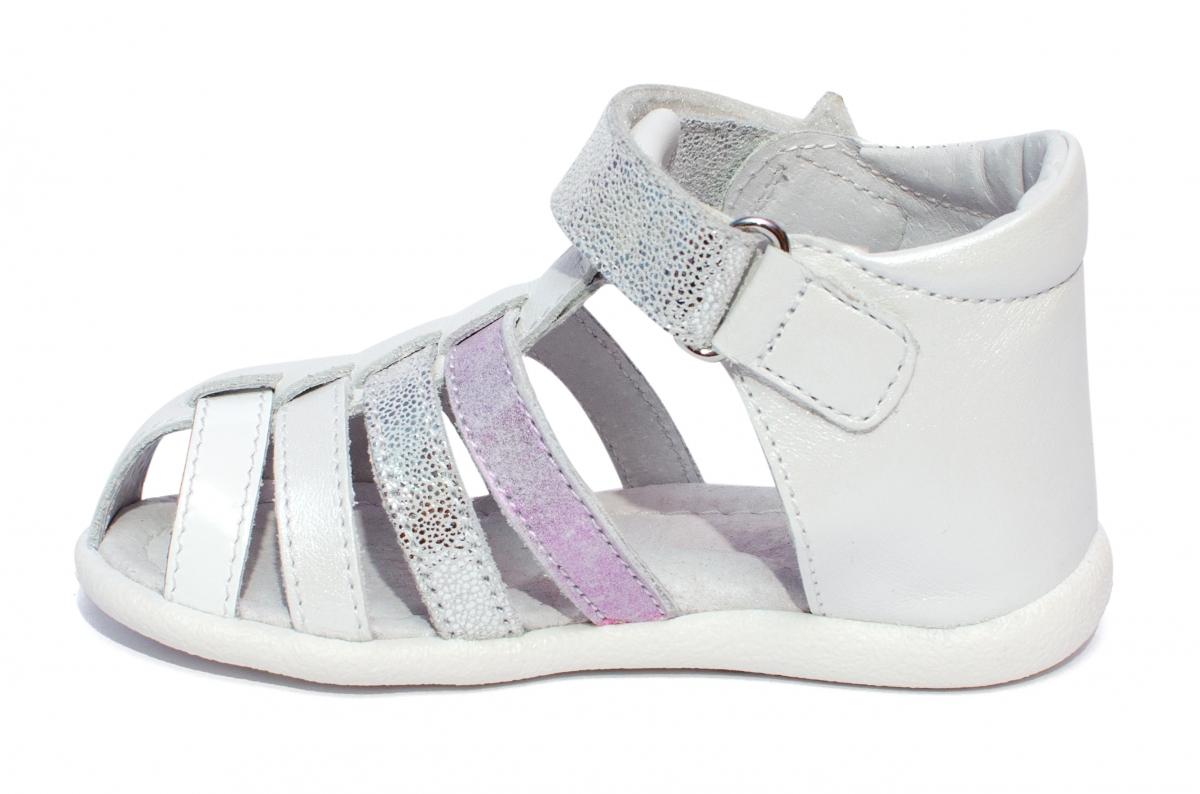 Sandalute fete hokide 406 alb lila arg 18-24
