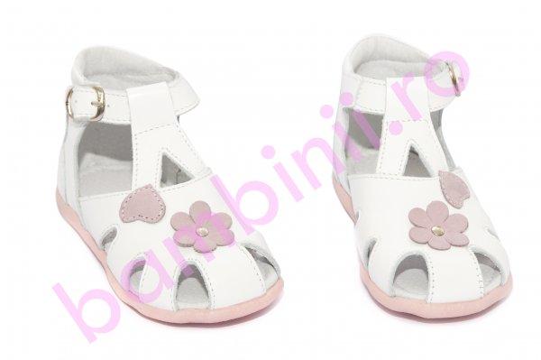 Sandalute fete hokide inimioara 77 alb roz 18-24