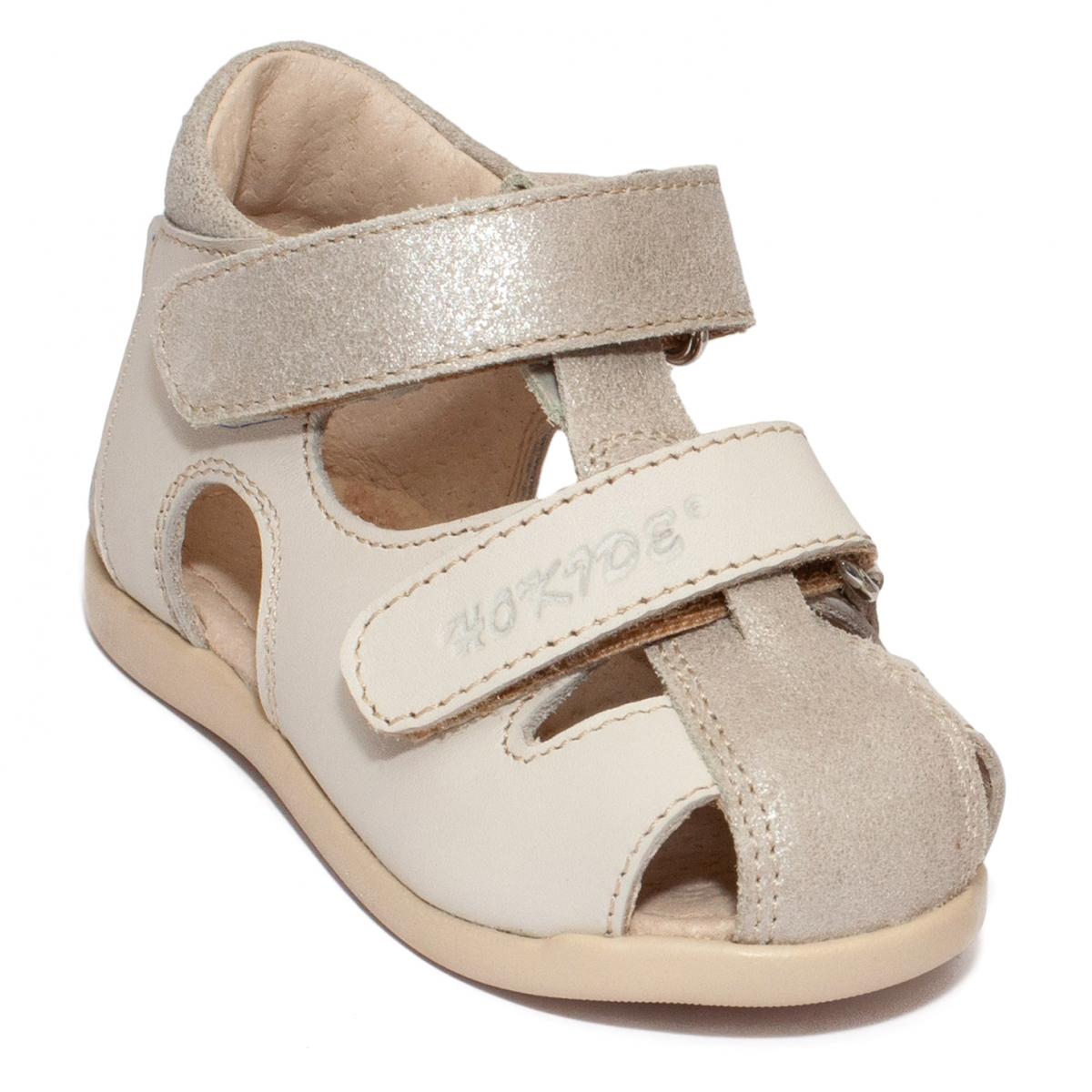 Sandalute fete hokide picior lat 186 bej auriu 18-24