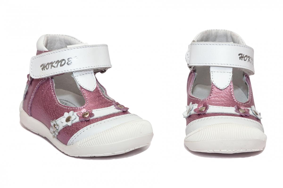 Sandalute fete inalte pe glezna 403 alb lila 18-25