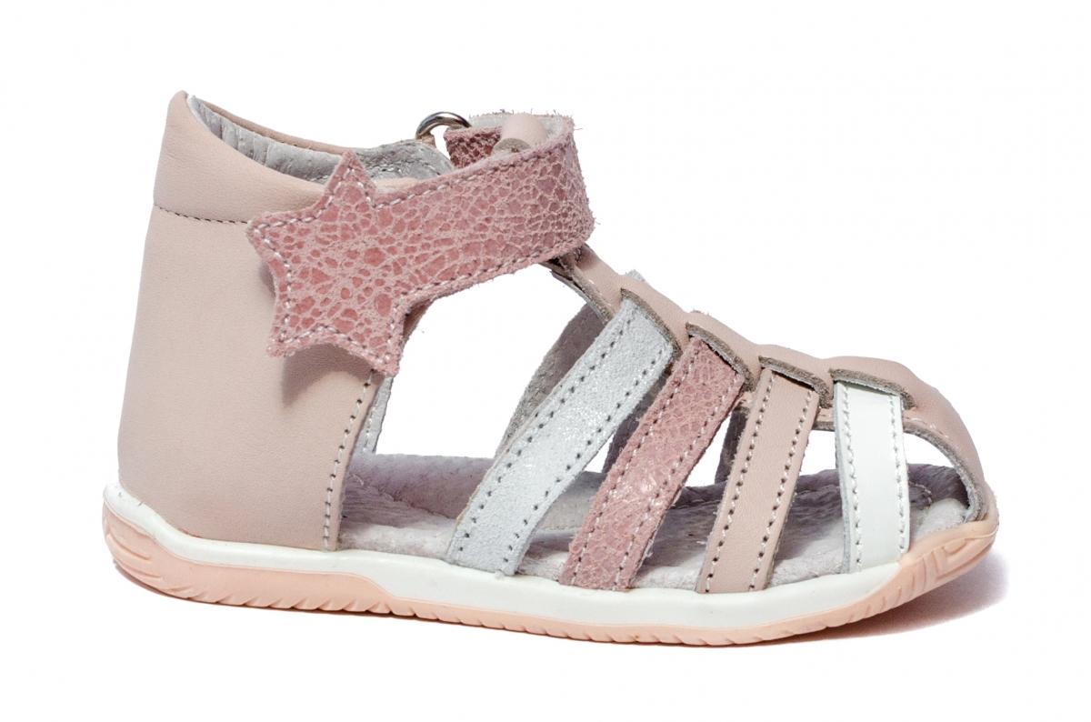 Sandalute fete inalte pe glezna hokide 406 roz alb 18-24