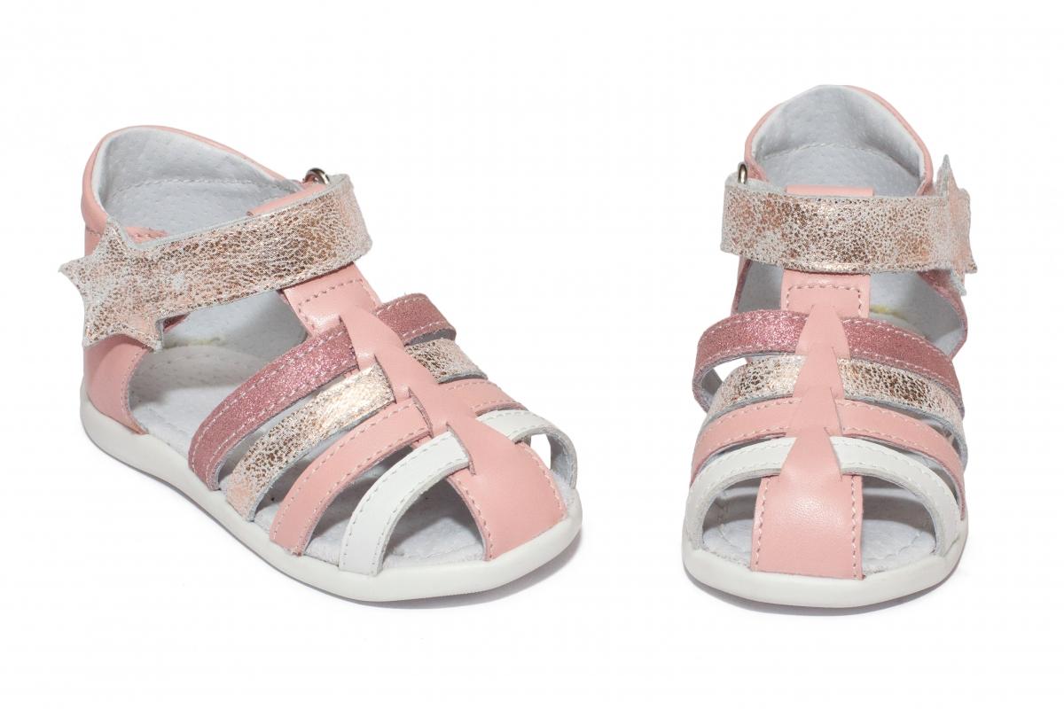 Sandalute fete inalte pe glezna hokide 406 roz alb auriu 18-24