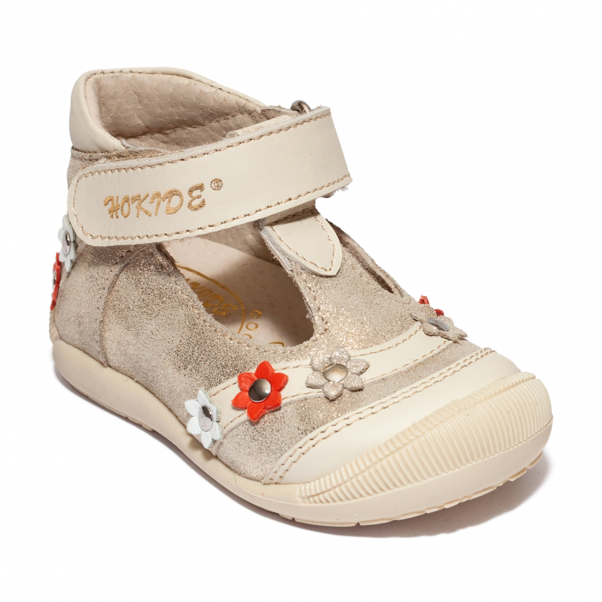 Sandalute fete inalti pe glezna hokide 403 bej auriu 18-24