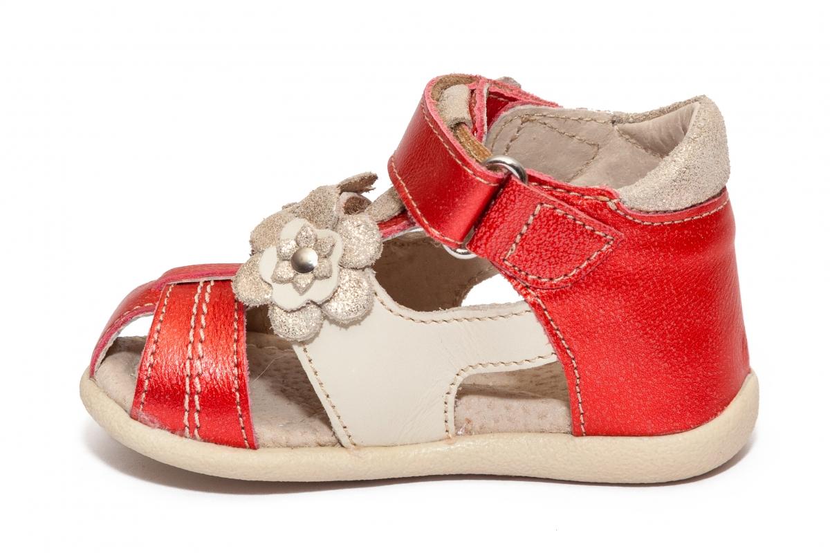 Sandalute fete picior lat hokide 405 rosu sidef bej 18-25