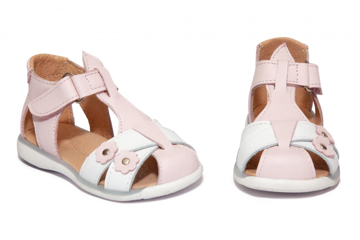 Sandalute fete piele 346 roz pal alb 18-25
